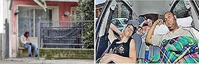 Famiglia italiana vive in auto a pochi metri 'profughi' in hotel – VIDEO