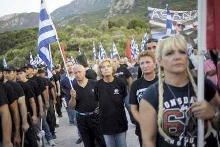 Golden Dawn supporters attend a ceremony in Thermopylae
