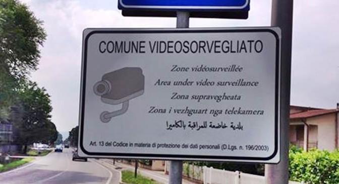 «Qui telecamere»: cartelli anti-ladri in romeno, albanese e arabo