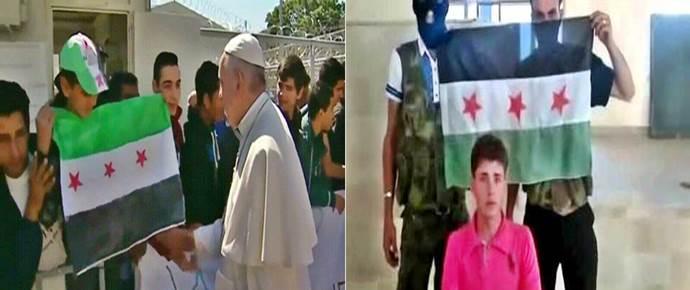 BERGOGLIO E I TERRORISTI ISLAMICI A LESBO - CLICCA