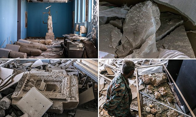 PALMYRA, SYRIA. APRIL 2, 2016. Ancient statues damaged and vandalised by the ISIS terrorist group, in the National Museum of Palmyra. Valery Sharifulin/TASS (Photo by Valery SharifulinTASS via Getty Images)