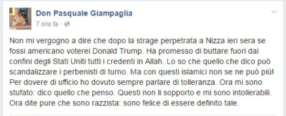 Parroco contro terroristi islamici: Facebook lo censura e Vescovo lo costringe a scuse