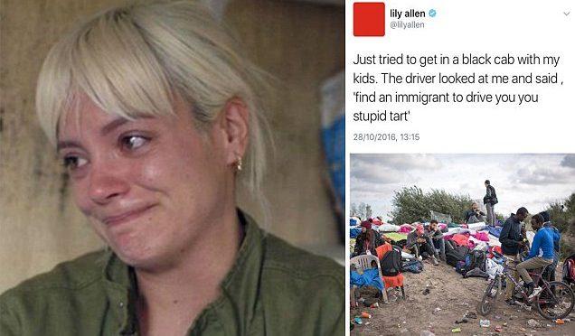 """Lily Allen lasciata a piedi da taxi: """"Fatti portare da un immigrato"""""""