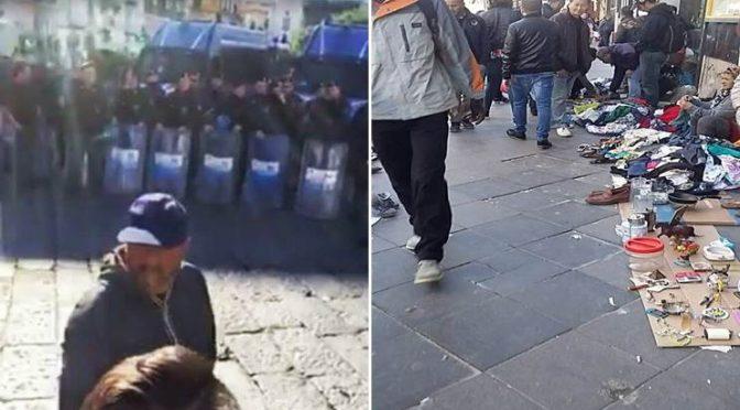 Napoli: Polizia anti-sommossa contro commercianti, abusivi liberi di vendere – FOTO