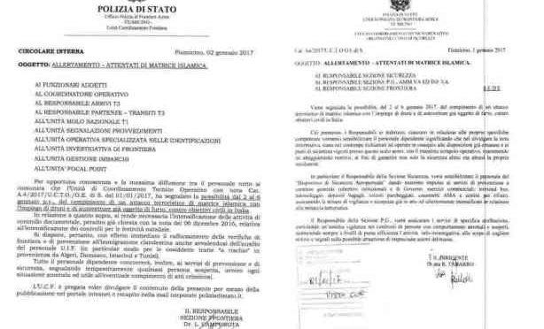 """CIRCOLARE POLIZIA: """"ISLAMICI VOGLIONO COLPIRE ENTRO 6 GENNAIO"""" – LEGGI"""