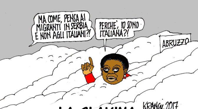 "Gran Sasso, Kyenge: ""Solidarietà a migranti al gelo in Serbia"""