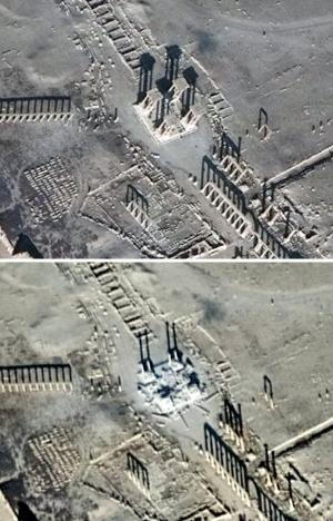 A combination of satellite pictures shows the Tetrapylon before and after it was damaged, in the historical city of Palmyra, in Homs Governorate, in these handout picture acquired on December 26, 2016 (top) and January 10, 2017. Satellite Imagery Analysis by UNITAR-UNOSAT/DigitalGlobe/ Handout via Reuters