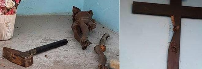 Udine, Crocifisso distrutto a martellate