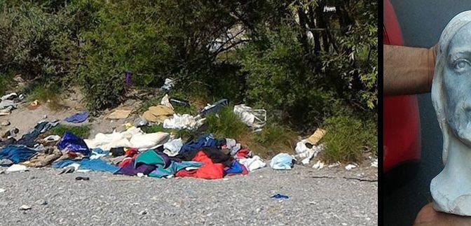VENTIMIGLIA: CLANDESTINI ISLAMICI CAGANO SULLA TESTA DI GESU' – FOTO