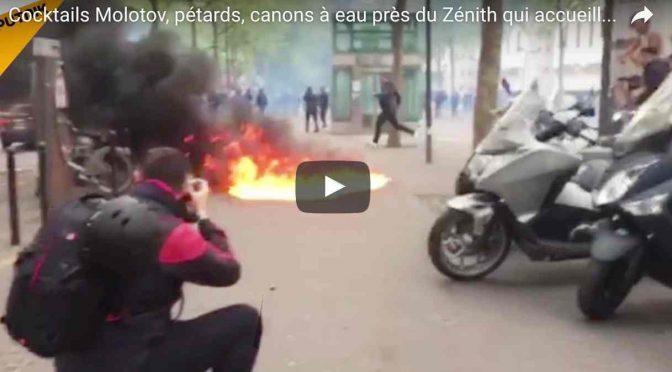 COMIZIO LE PEN ASSALTATO CON BOMBE MOLOTOV – VIDEO