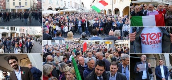 Pordenone: grande marcia patriottica contro accoglienza