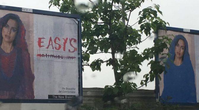 Dipingono velo islamico sui cartelloni pubblicitari di Irina Shayk e inneggiano a Isis – VIDEO