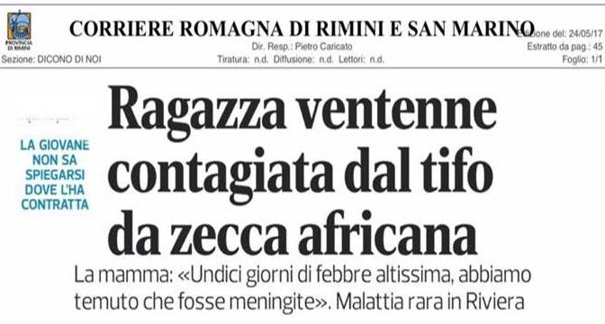Rimini, dopo la Lebbra arriva il Tifo da zecca africana