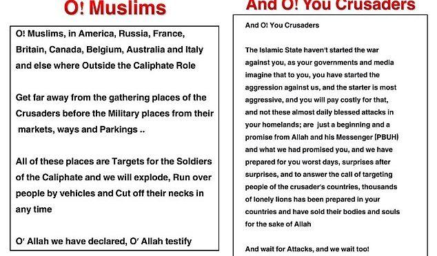 """ISIS AVVISA IMMIGRATI IN ITALIA: """"STATE LONTANI DA LUOGHI AFFOLLATI, NOSTRI SOLDATI SGOZZERANNO INFEDELI"""""""
