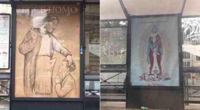 Manifesti anti-cristiani a Roma: Gesù pedofilo e Madonna lesbica