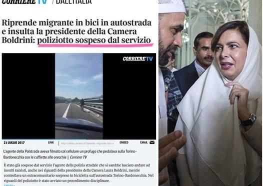 """Agente sospeso, Salvini: """"Io sto con lui è Boldrini da licenziare"""""""