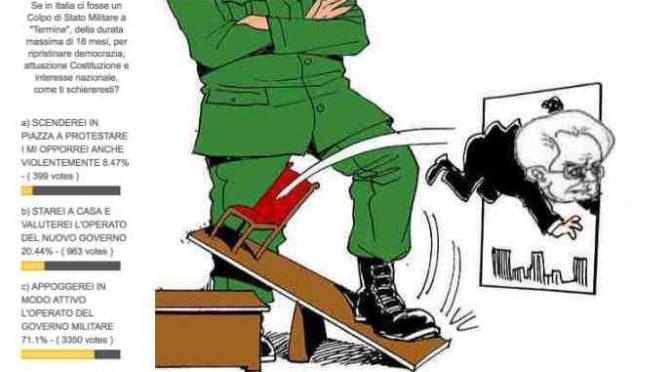 Sondaggio choc: + 70% Italiani vuole militari rovescino governo abusivo