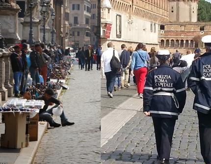Roma: Vigili a passeggio tra i venditori abusivi – FOTO