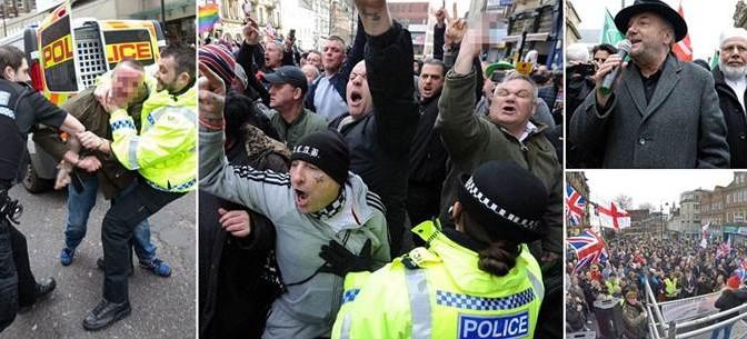 Scontri in Inghilterra: islamici e centri sociali assaltano manifestazione patriota – FOTO