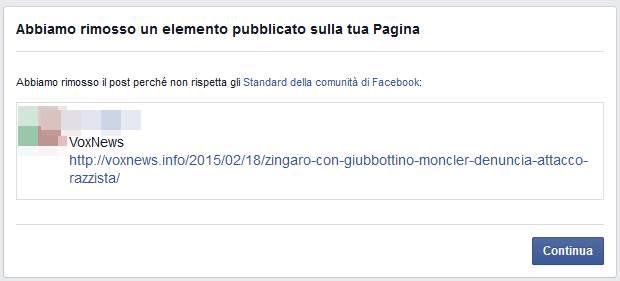 Facebook censura il termine 'ZINGARO': VOX bloccato 30 ore..