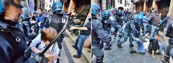 Manganellate ai ragazzi che protestano contro clandestini – FOTO DELLA VERGOGNA – DIFFONDI