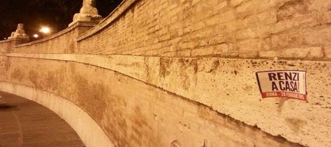 La bufala di Piazza del Popolo 'imbrattata' dai leghisti – FOTO