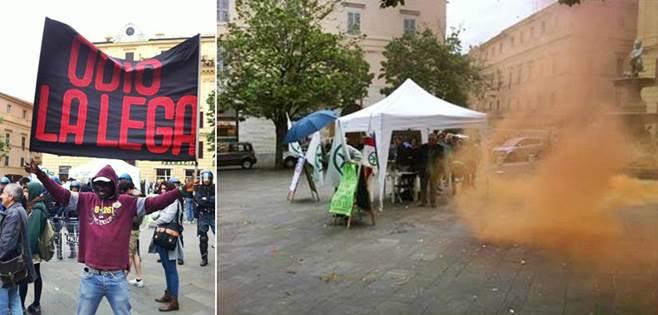 Immigrati e centri sociali assaltano gazebo Lega – FOTO