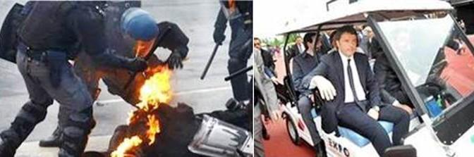 NELLO STESSO ISTANTE: POLIZIOTTI BRUCIANO, RENZI SI DIVERTE  – FOTO