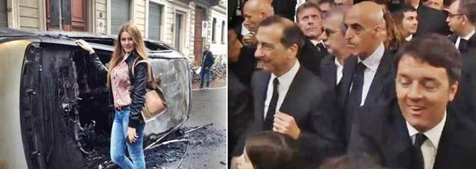 Sciacalli a Milano: Renzi e la turista – FOTO