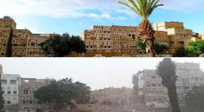SAUDITI COME ISIS: Rasi al suolo palazzi di Sanaa – FOTO