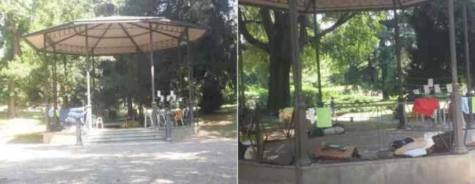 Milano: Gazebo trasformato in dormitorio africani – FOTO
