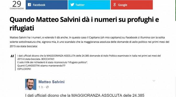 Salvini dà i numeri sui finti profughi: giornale xenofilo non li capisce