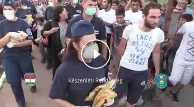 Profughi vestiti Armani gettano acqua e cibo – VIDEO