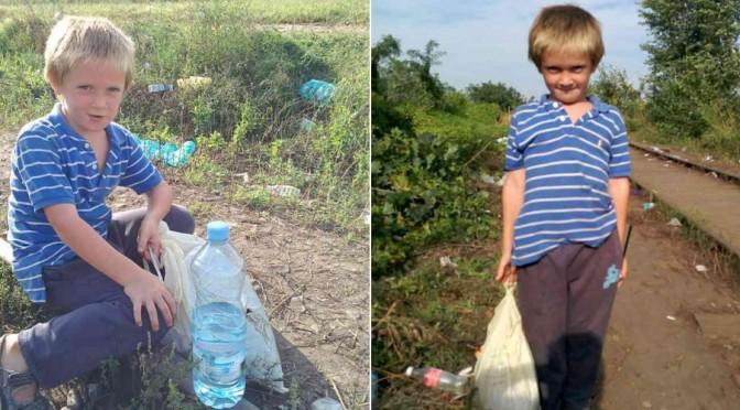 Bambino raccoglie cibo gettato da profughi: sua famiglia ha fame