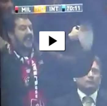 Salvini, tifoso, fa gesto dell'ombrello per rigore sbagliato da Icardi – VIDEO