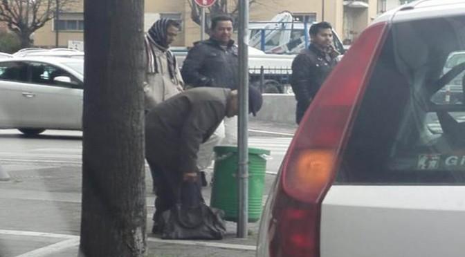 L'Italia del PD: pensionato rovista spazzatura, profughi lo guardano – FOTO