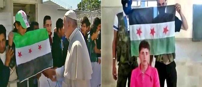Bergoglio: foto in posa coi terroristi islamici