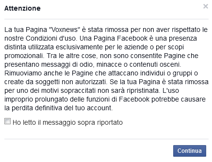 Censura: Facebook cancella Vox
