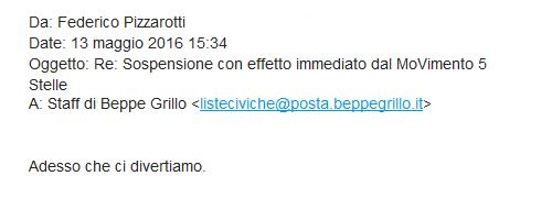 """La mail di Pizzarotti a Grillo: """"Adesso ci divertiamo"""""""