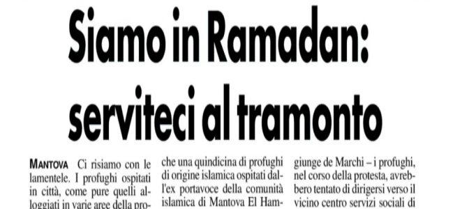 RAMADAN: PROFUGHI ESIGONO SERVIZIO ISLAMICO E CAMERIERI A DISPOSIZIONE