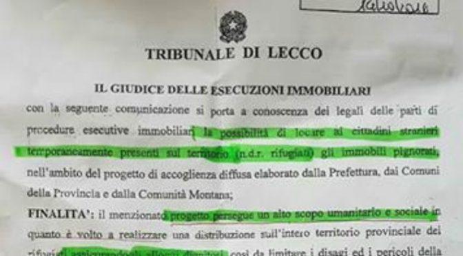 MAGISTRATO DA' CASE PIGNORATE ITALIANI A IMMIGRATI – DOC