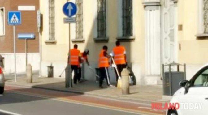 Milano: 4 profughi per spazzare 1 metro di marciapiede pulito – FOTO