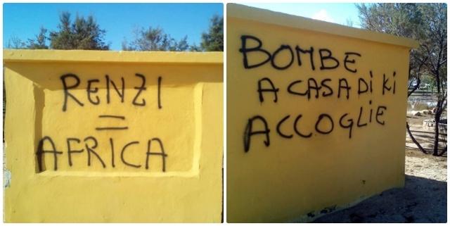 """RIVOLTA: """"BOMBE CONTRO CHI OSPITA PROFUGHI"""" – FOTO"""