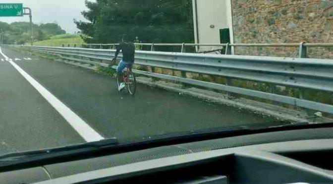 Altro migrante in bici sull'autostrada, ha il permesso di Boldrini – FOTO