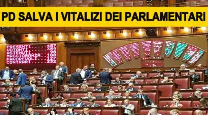 PD SALVA I VITALIZI DEI PARLAMENTARI, BOCCIATO EMENDAMENTO