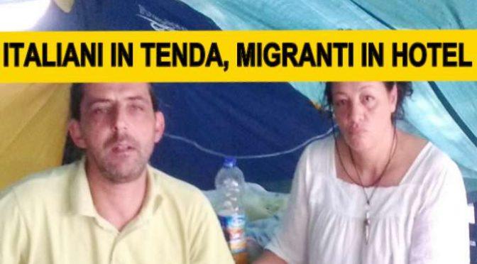 FAMIGLIA TERREMOTATA VIVE IN TENDA DAVANTI CASA PREFETTO CHE TROVA POSTO A 1.114 AFRICANI