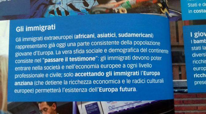 """Testo scolastico esalta genocidio Italiani: """"Passare testimone a Immigrati"""""""