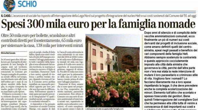 Vicenza, 300mila euro per mantenere 1 famiglia Rom