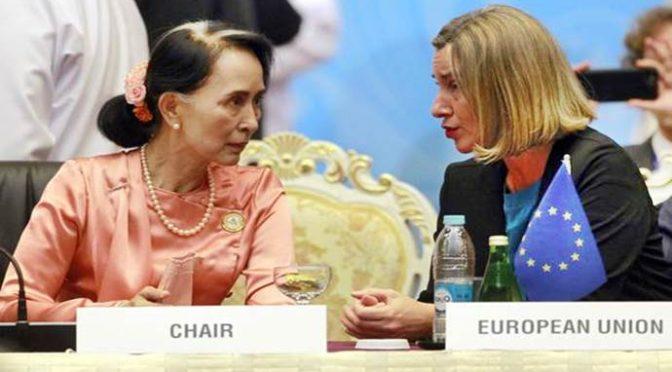 """San Suu Kyi dà lezione a Mogherini: """"Immigrati portano terrorismo"""""""