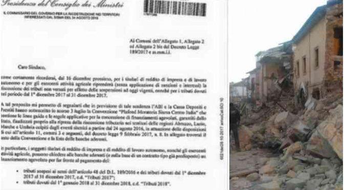 """Governo esige tasse dai terremotati: """"Fate un mutuo se siete poveri"""""""